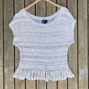 American Eagle Open Knit Fringe Sweater, Size L